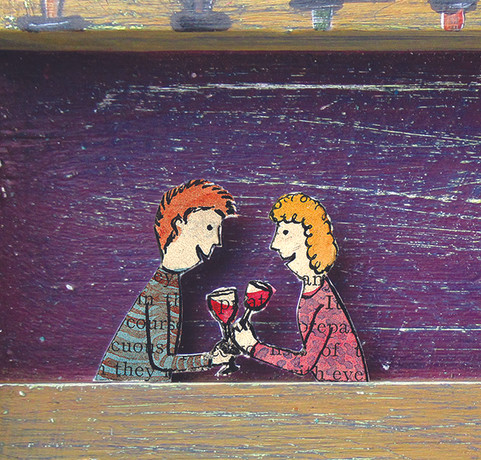 Mixed media couple. Distressed painted wood, found and hand painted papers