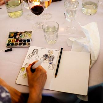 Sketching the wedding speeches
