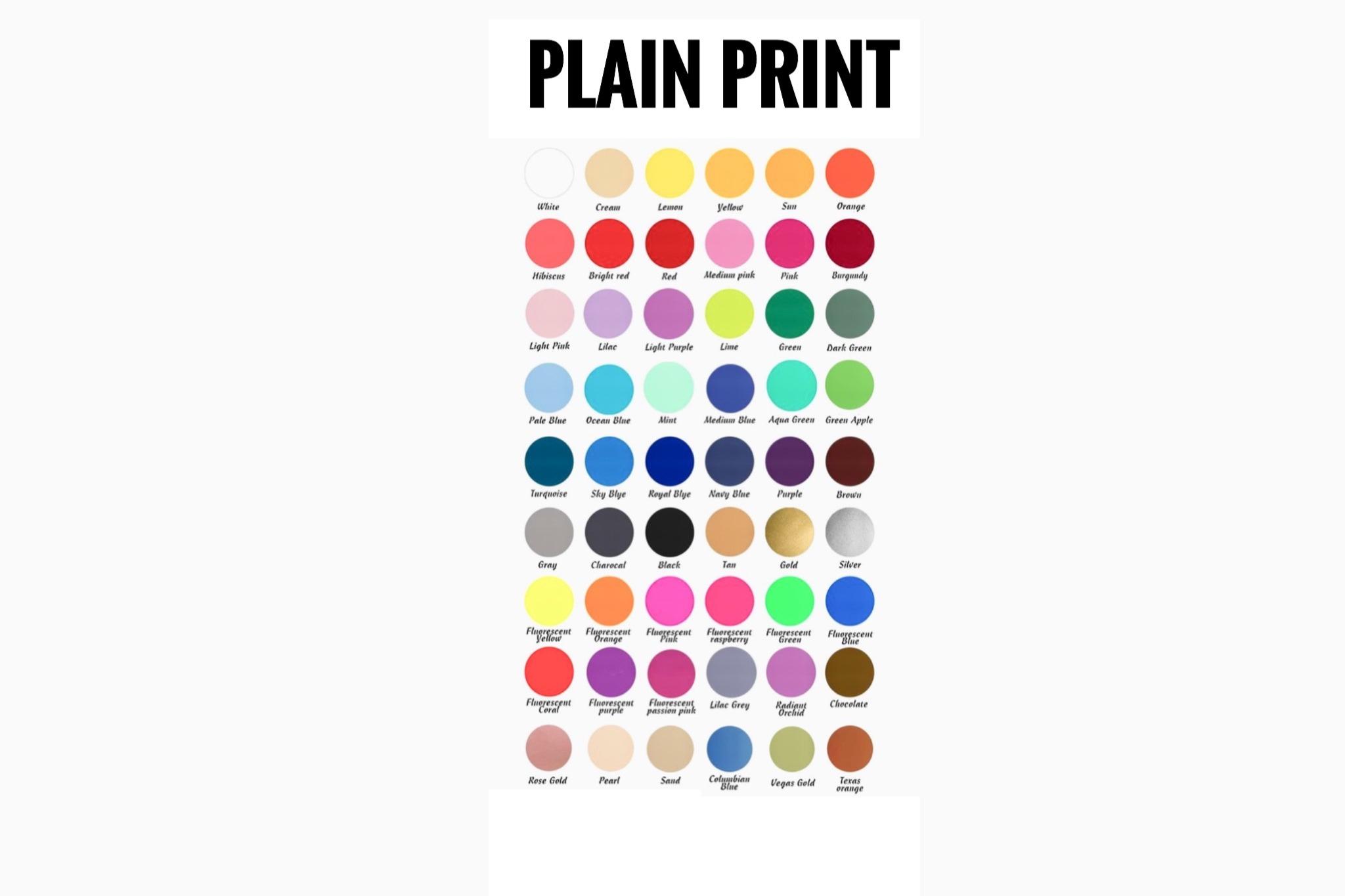 PLAIN PRINT CHART
