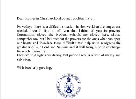 Патриарх Августин прислал слова утешения и ободрения.