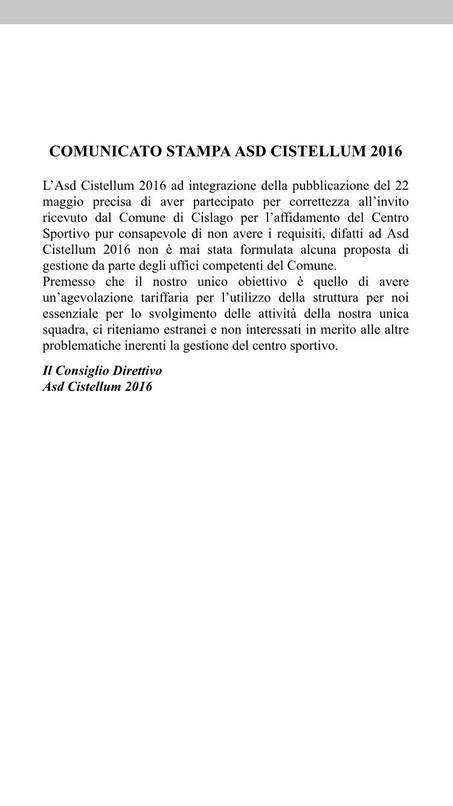 COMUNICATO STAMPA ASD CISTELLUM 2016