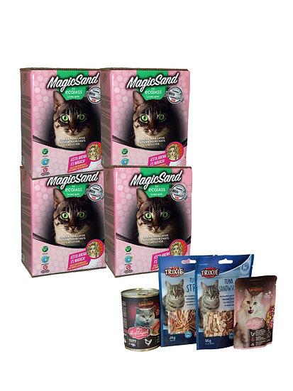 Pack 4 Cajas 7.5L Arena No Aglomerante Gato + 4 unidades de Variedad Snacks