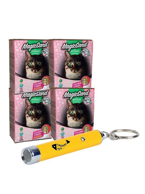 Pack 4 Cajas 7.5L Arena No Aglomerante Gato + Puntero