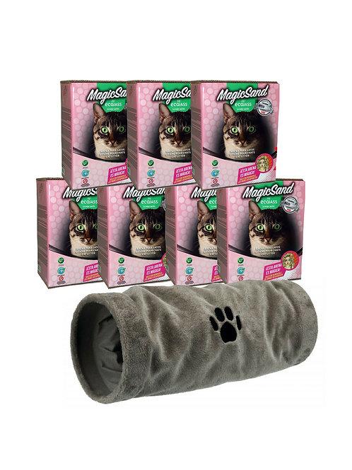 Pack 7 Cajas 7.5L Arena No Aglomerante Gato + Túnel Gato