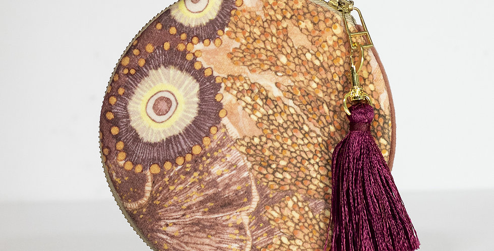 OCEANUM CORAL VELVET CIRCLE POUCH WITH TASSEL