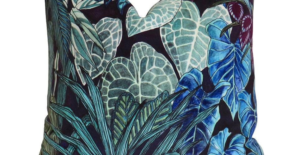 Tanglewood Forest Viridian Velvet 55 x 55 Cushion