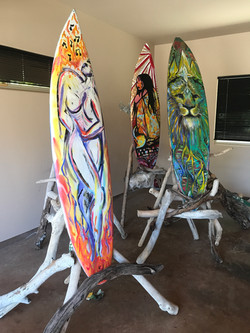 Re-purposed Surfboards into art