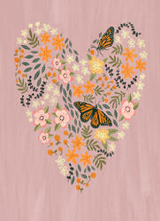 greetings card with bleed buterfly heart