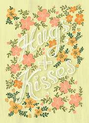 greetings card with bleed hugs and kisse