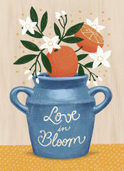 greetings card with bleed love in bloom.