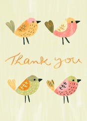 greetings card with bleed thank you bird