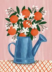 greetings card with bleed orange in wate