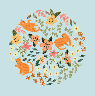 Cat floral doodlE CIRCLE CAT copy_web.jp