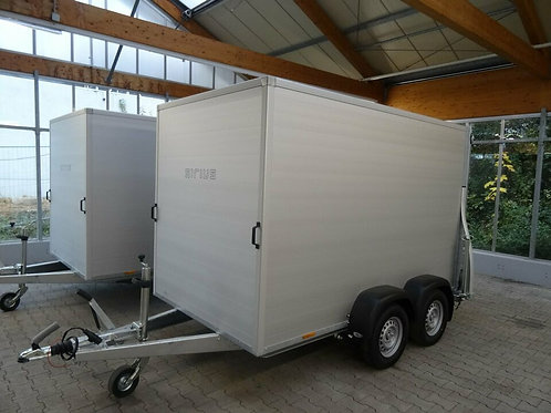 Kofferanhänger ALU 3 Meter Rampe/Tür 2500kg Sirius Profi Anhänger