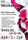 Plakat zu einer Lesung von Bini Adamczak.