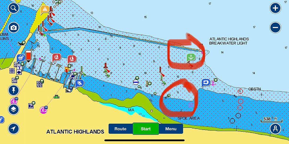 LYC Atlantic Highlands Rendezvous… book a mooring on DOCKWA or join S/V No Doubt @ anchor near either circle above. 😉