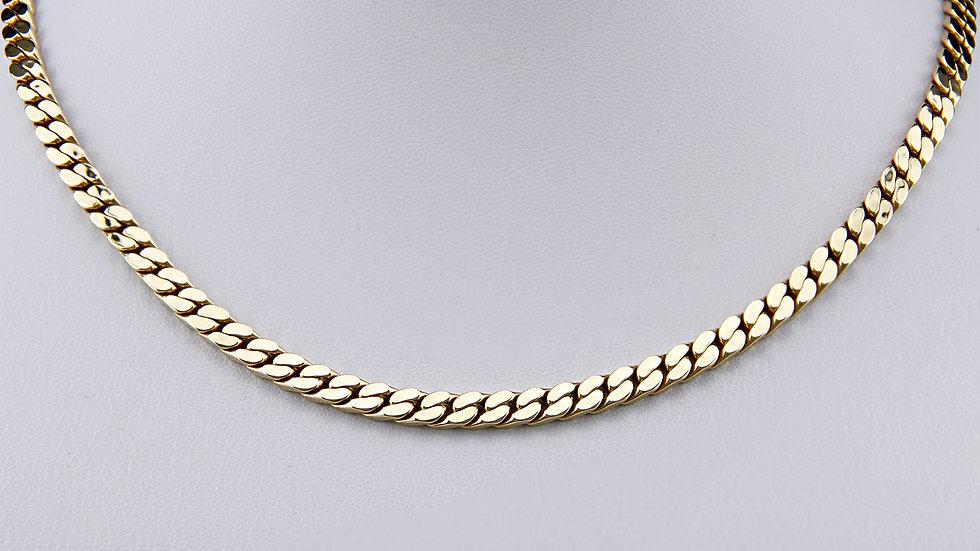 Halskette Flachpanzerkette, 585 Gold, 45 cm,  5,0 mm, edel!