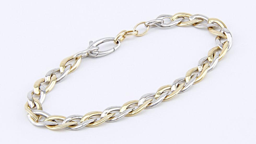 Armband Spitzankerkette 19 cm, 585 Gold, bicolor