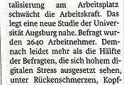 Digitalstress schwächt Arbeistkraft, Salzburger Nachrichten