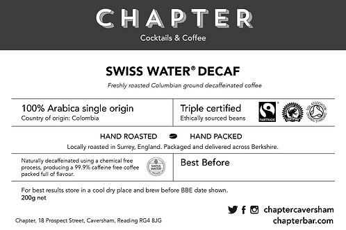 Swiss Water Decaf (Cafetière) – 200g net