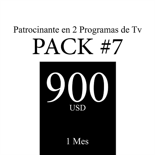 Pack #7 de Comercial en 2 Programas de Tv