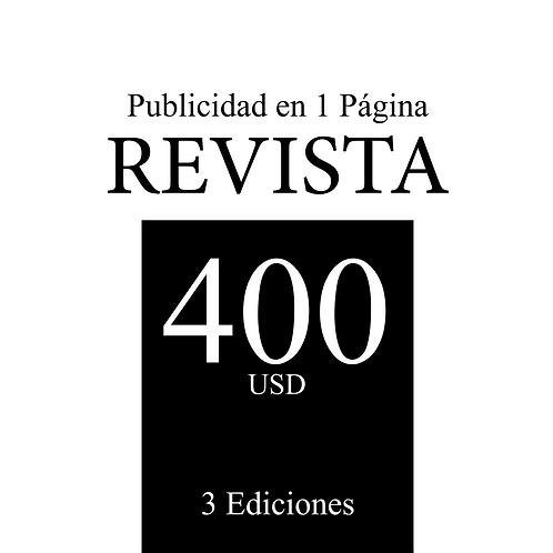 Publicidad en 1 Página en 3 ediciones