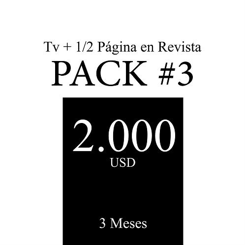 Pack 3 de publicidad en Tv + 1/2 Página en Revista