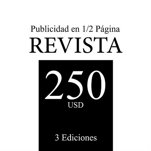 1/2 Página de publicidad en 3 ediciones de revista