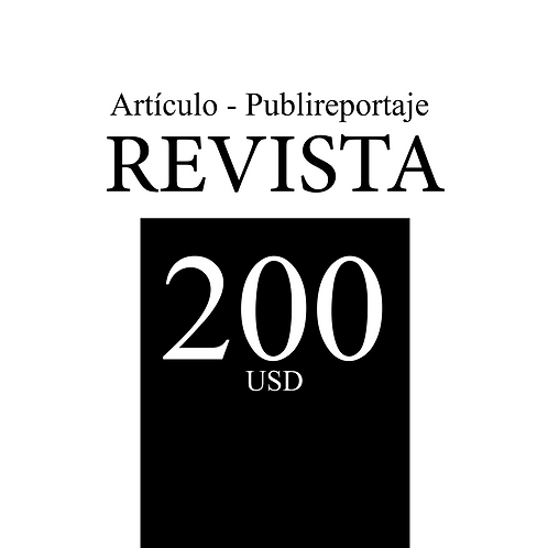 1 Artículo-Publireportaje en revista