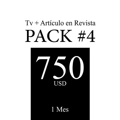 Pack 4 de publicidad en Tv + Artículo en Revista