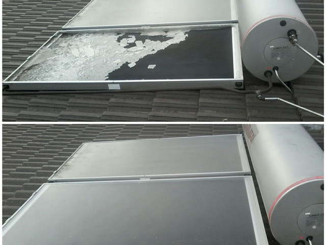 Replace of broken solar collecter tempered glass