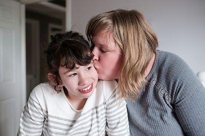 Disability Child Mother Kissing Girl Dau