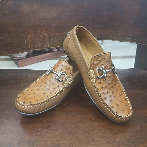 """""""The Executive"""" Full Ostrich Moccasin Loafer (Straw)"""