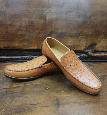 """""""The Executive"""" Ostrich Moccasin Loafer (Honey)"""