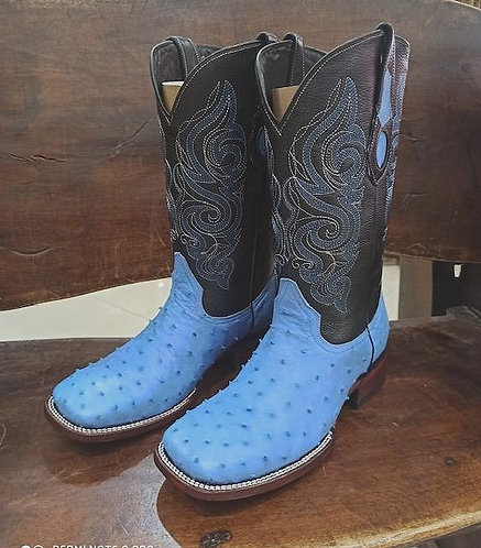 Mens Ostrich Skin Square Toe Boots (Baby Blue)