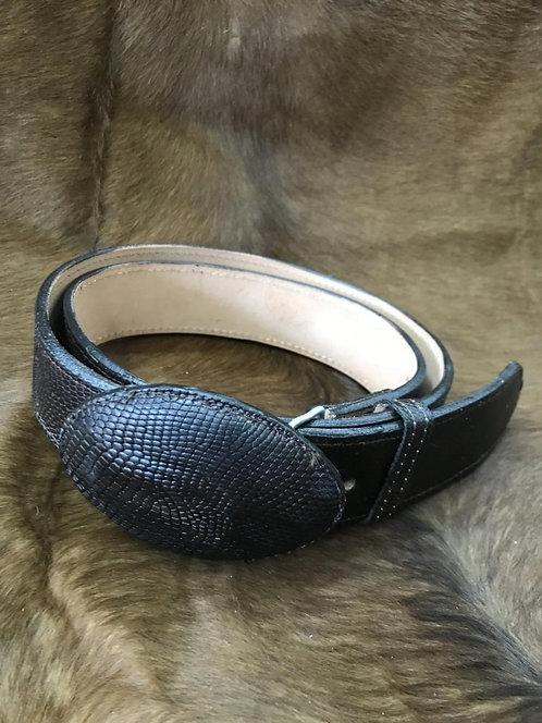 Teju Lizard Skin Belt (Black)