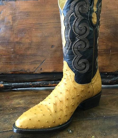 Mens Ostrich Quill Boots (Butter)