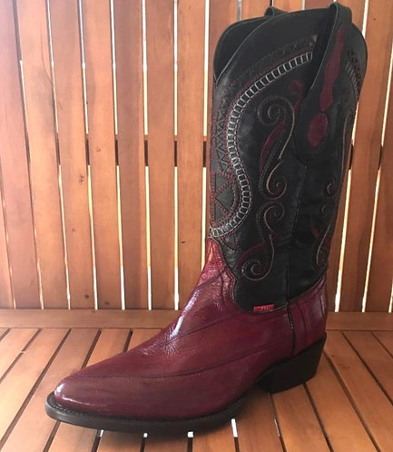 Womens Eel Oval Toe Boots Vino
