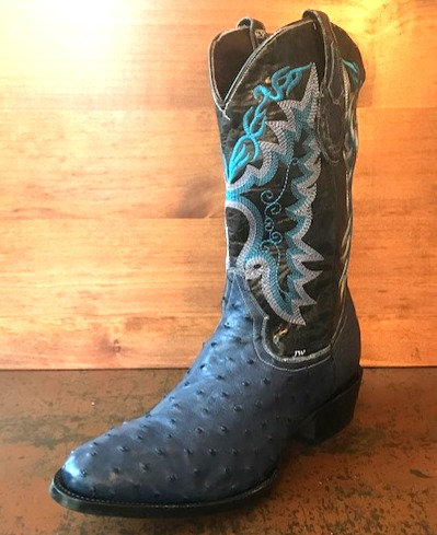 """The Trail Boss"" in Full Quill Ostrich (Denim Blue)"