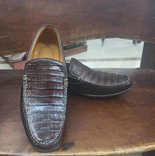 """The Executive"" Alligator Moccasin Loafer (Brown)"