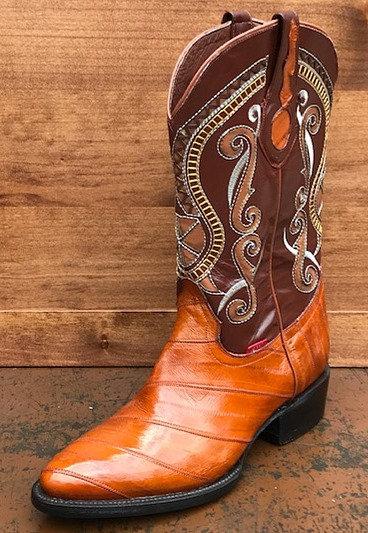 Womens Eel Oval Toe Boots Honey