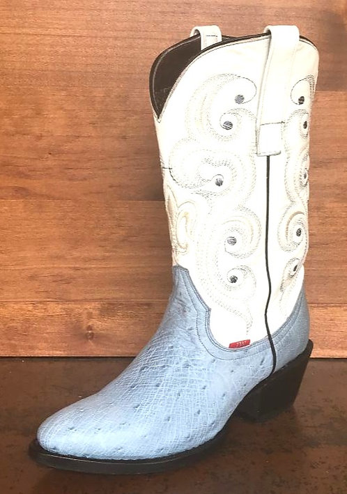 Womens Ostrich Belly Oval Toe Boot (Baby Blue)
