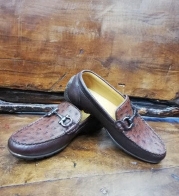 """The Executive"" Ostrich Moccasin Loafer (Brown)"