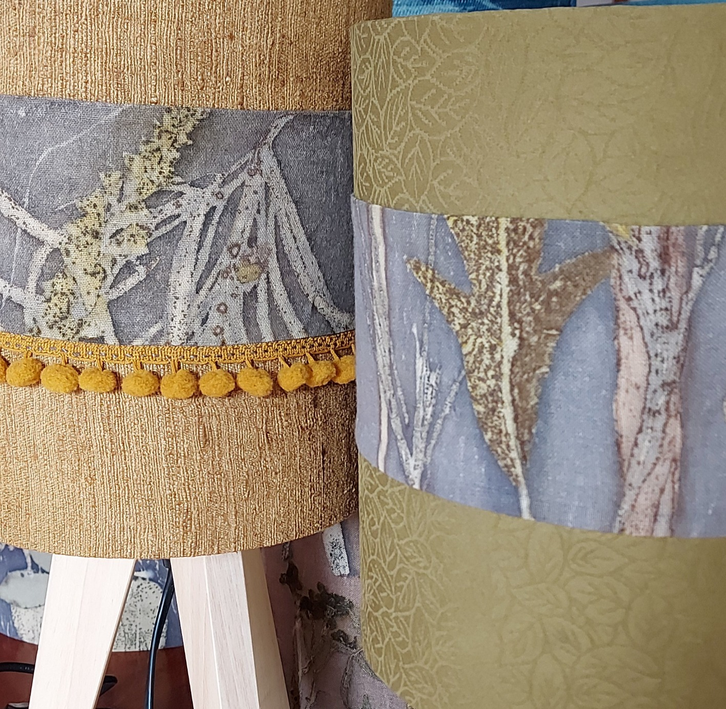 Lampshades botanical print and dye