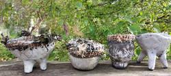 Raku  and seagrass vessels