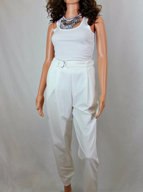 PLEATED FRONT PANT WITH SELF FABRIC BELT