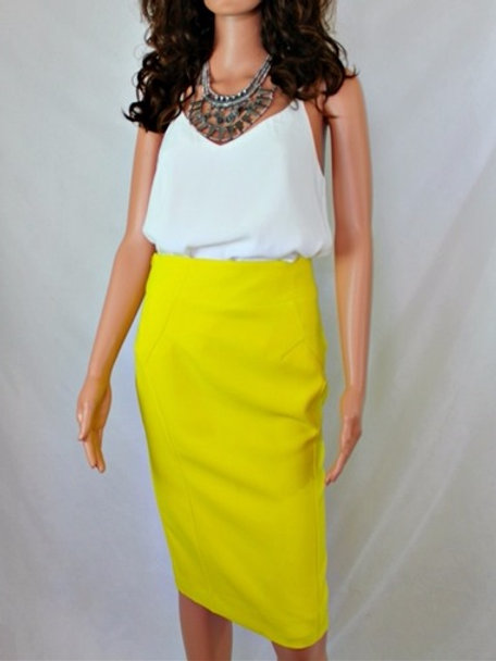 PENCIL SKIRT WITH WIDE WAIST BAND AND BACK SLIT