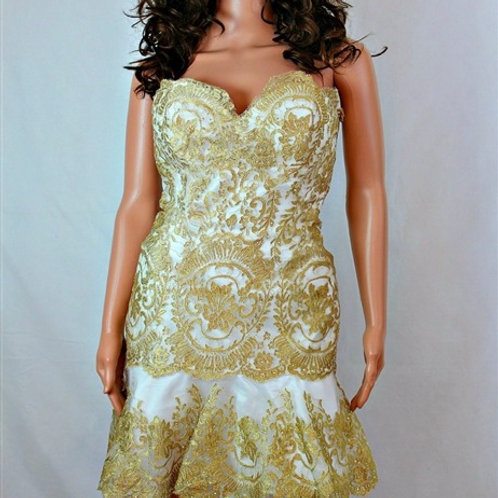 GOLD LACE SWEETHEART STRAPLESS COCKTAIL DRESS