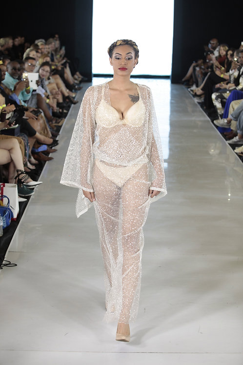 WHITE SHEER DRESS BY LENSHINA NCHAMI