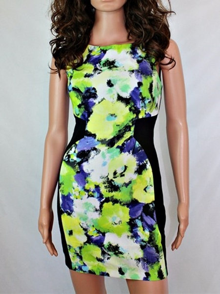 PRINTED DRESS WITH COLOR BLOCKING